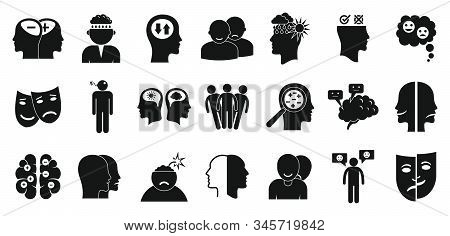 Bipolar Disorder Icons Set. Simple Set Of Bipolar Disorder Vector Icons For Web Design On White Back