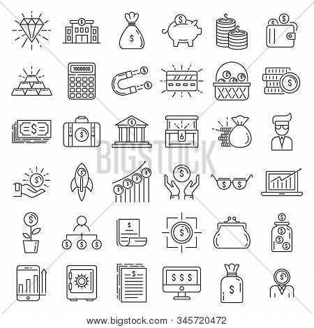 Millionaire Icons Set. Outline Set Of Millionaire Vector Icons For Web Design Isolated On White Back