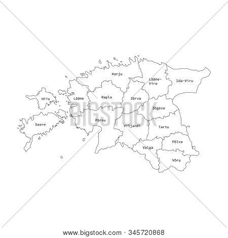 Vector Outline Administrative Division Map Of Estonia . Vector Map.