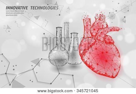 Heart Science Glass 3d Medicine Low Poly Concept. Triangle Red Pharmacy Drugstore Background. Modern