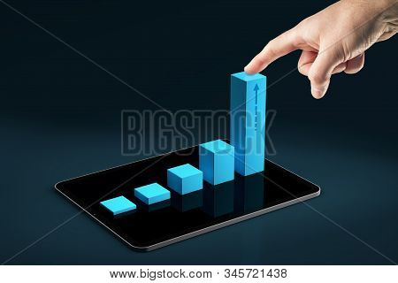 Business And Personal Growth Thanks To Digital Tablet App Concept. Business Person Motivate To Be Ma