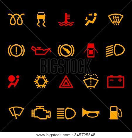 Car Dashboard Icons Set Isolated On Black Background. Icon Pack Car Information Pictograms. Vector I