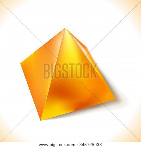 Mockup Of Blank Glossy Golden Or Yellow Pyramid, Polyhedron 3d. Icon Abstract Symbol. Template Vecto