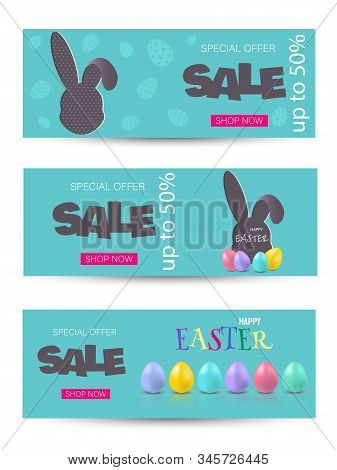 Happy Easter sale, bunny, easter background, easter banners, easter flyer, design. Happy Easter, easter bunny, easter background, easter banners, easter flyer, easter design,easter with flowers on red background, Copy space text area, vector illustration.