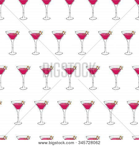 Cosmopolitan Cocktail Seamless Pattern. Hand Drawing Sketch Outlines On Pink Background Can Be Print