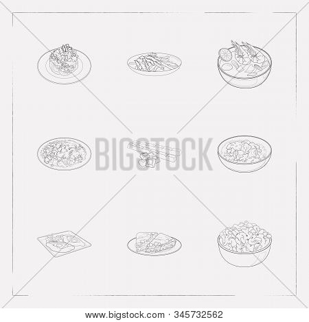 Set Of Culinary Icons Line Style Symbols With South African Biltong, Khachapuri Adjaruli, Thai Tom Y