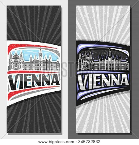 Vector Vertical Layouts For Vienna, Decorative Leaflet With Draw Illustration Of Famous Vienna City
