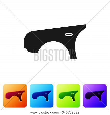 Black Car Fender Icon Isolated On White Background. Set Icons In Color Square Buttons. Vector Illust