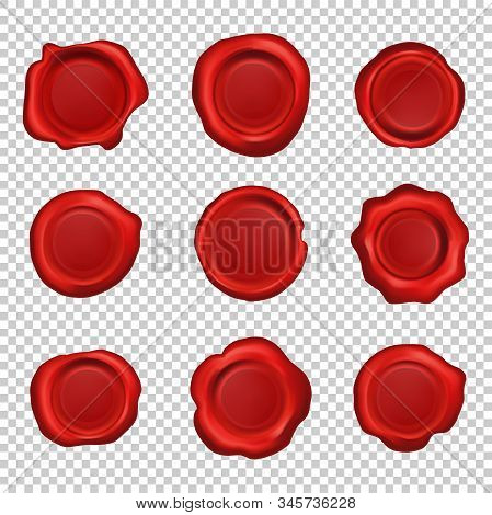 Old Realistic Stamp Wax Seal. Set Of Red Sealing Wax Vintage Stamps Labels. Vector Illustration On T