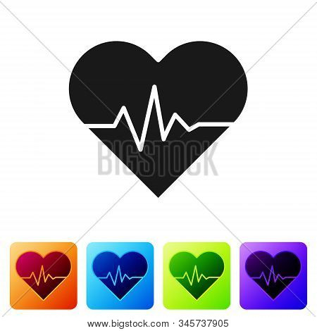 Black Heart Rate Icon Isolated On White Background. Heartbeat Sign. Heart Pulse Icon. Cardiogram Ico