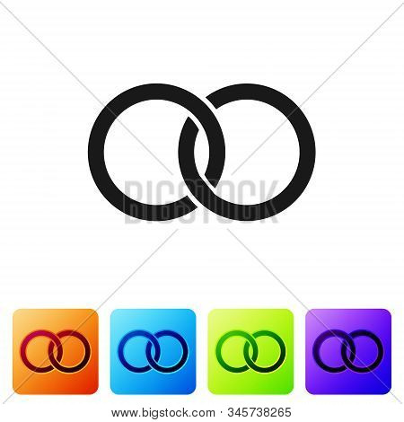 Black Wedding Rings Icon Isolated On White Background. Bride And Groom Jewelery Sign. Marriage Icon.