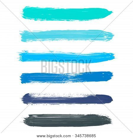 Set Of Turquoise Blue, Indigo, Black Vector Watercolor Hand Painted Gradient Stripes Isolated On Whi