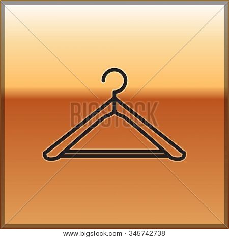 Black Line Hanger Wardrobe Icon Isolated On Gold Background. Cloakroom Icon. Clothes Service Symbol.