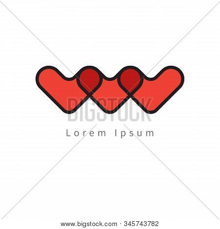 Charity Icon With Red Hearts, Abstract Volunteer Vector Symbol