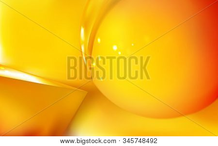 Abstract Realistic Background Glossy Golden Or Yellow Sphere 3d And Pyramid. Reflection, Macro Vecto