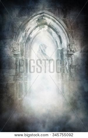 Ghostly Hooded Figure Materialising Within An Ancient Arched Medieval Doorway.