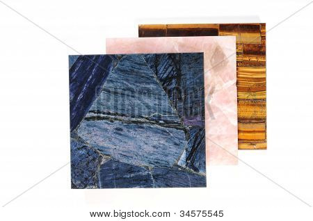 three Pieces of blue pink and neutral colors tile poster