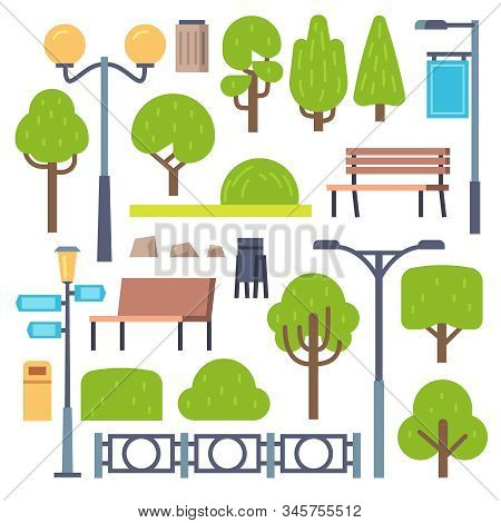 Park Elements. Urban Outdoor Decor, Lamppost And Benches, Bush And Signboards, Containers. Landscape
