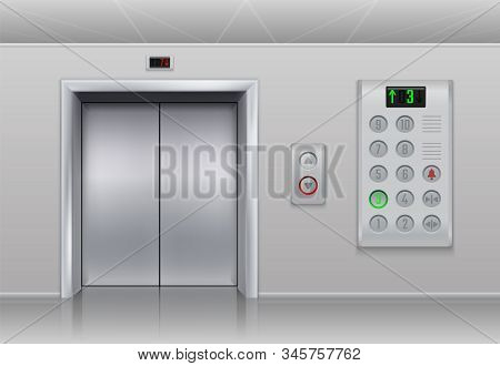 Elevator Doors And Buttons. Realistic Cargo And Passenger Lift With Metal Doors, Stainless Steel But