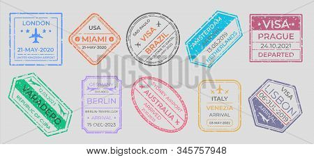 Passport Stamps. International Travel Visa Marking, Business Travel And Immigration Vintage Labels.