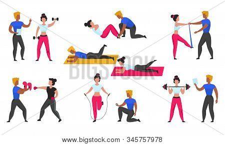 Gym Coach. Personal Workout Fitness Trainer, Cartoon Characters Doing Sport Exercises And Cardio And