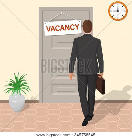 The Man In The Suit Goes For An Interview. A Businessman Gets A Job. Work Vacancy. Concept Of Employ
