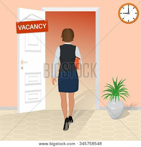 A Young Woman Goes To An Interview. The Girl Gets A Job. Work Vacancy. Open Door With A Job Invitati