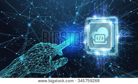 Cloud Computing Concept. Business, Technology, Internet And Networking Concept. Young Businessman Se