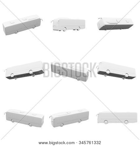 Bus Isolated On The White Background 3d Rendering