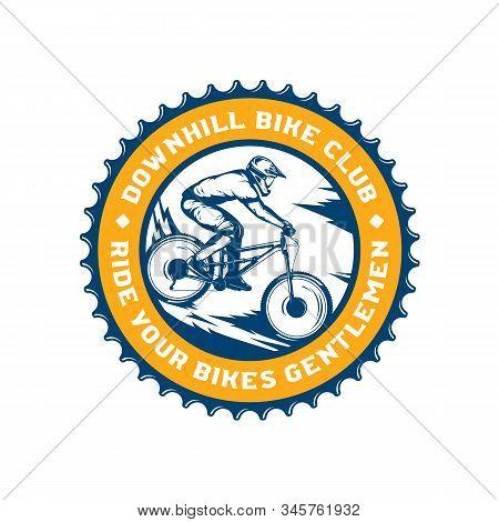 Vector Downhill Mountain Biking Badge Design