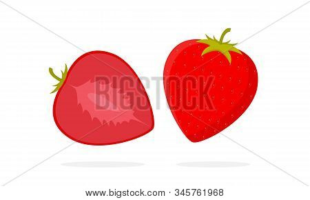 Strawberry Vector. Slice Of Strawberry. Strawberry Illustration. Strawberry In Flat Minimalist Style