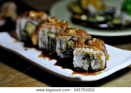 maki, beef maki or beef roll with Foie gras topping poster