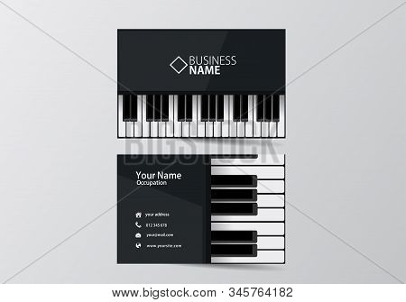Piano Business Card. Musician Visiting Card Template Two Sides