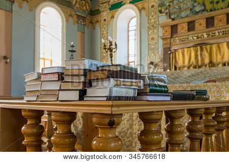 Kutaisi, Georgia, October 13, 2019 : Religious Books Lie In The Hall Of The Old Synagogue On The Bor