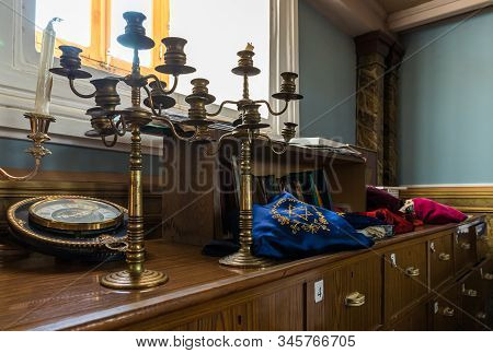 Kutaisi, Georgia, October 13, 2019 : Decorative Candlesticks Stand In The Hall Of The Old Synagogue
