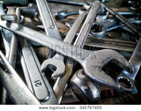 Forged Wrenches Of Various Sizes In A Toolbox