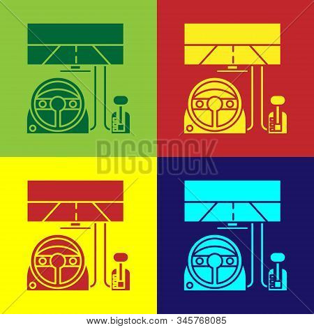 Color Racing Simulator Cockpit Icon Isolated On Color Background. Gaming Accessory. Gadget For Drivi