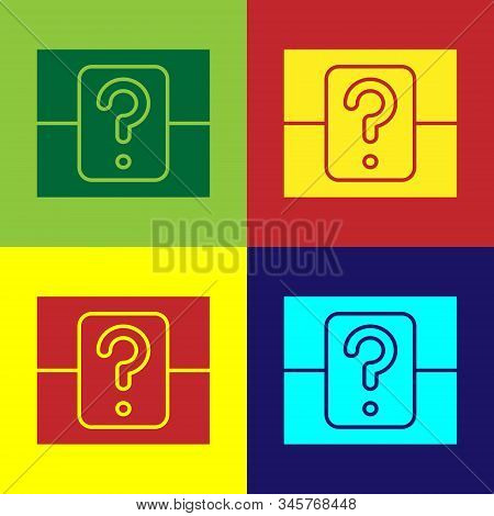 Color Mystery Box Or Random Loot Box For Games Icon Isolated On Color Background. Question Box. Vect