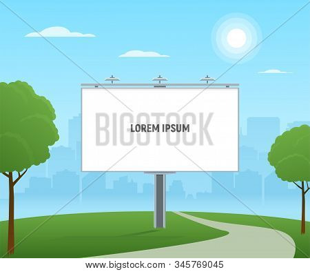 Empty City Billboard. City Outdoor Advertising With Blank Billboard On Cityscape Background.