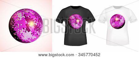 Mirror Disco Ball T-shirt Print Stamp For Tee, T Shirts Applique, Fashion, Badge, Label Retro Clothi