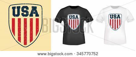 Usa Shield T-shirt Print Stamp For Tee, T Shirts Applique, Fashion, Badge, Label Retro Clothing, Jea