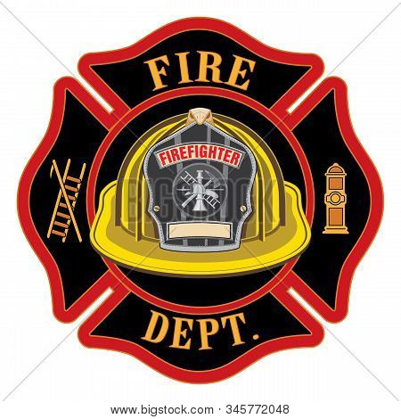 Fire Department Cross Yellow Helmet Is An Illustration Of A Fireman Or Firefighter Maltese Cross Emb