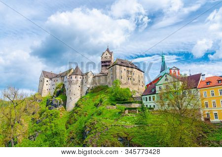 Loket Castle Hrad Loket Gothic Style Building On Massive Rock And Colorful Buildings In Loket Town,