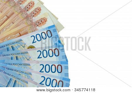 A Pack Of Russian Rubles In A Fan On An Isolated White Background. Denominations Of Five Thousand Ru