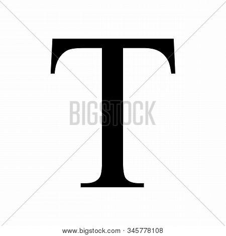 Uppercase Tau Greek Letter Isolated On White Background
