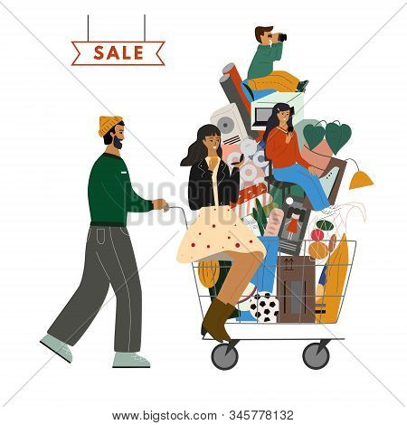 Happy Family Are With Shopping Cart Full Of Purchases. Cute Father Is Carrying Cart With Mother, Chi