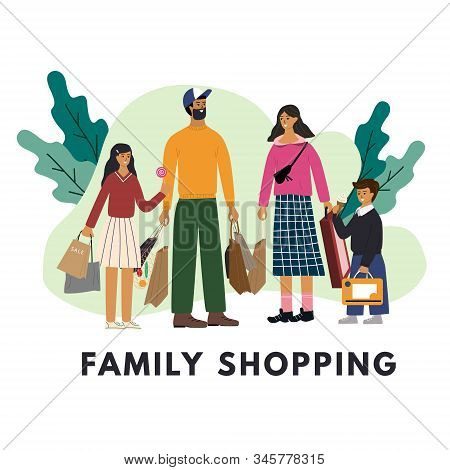 Happy Family Standing Together And Holding Bags With Purchases And Leaves At The Background. Cute Da