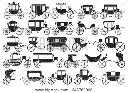 Vintage Carriage Vector Black, Simple Set Icon. Vector Illustration Set Cart For Princess. Isolated