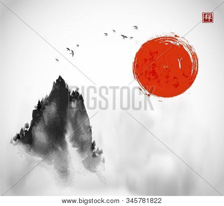 Ink Wash Painting With Big Red Sun, Flock Of Birds And High Misty Mountain Peak On White Background