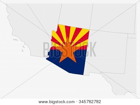 Us State Arizona Map Highlighted In Arizona Flag Colors, Gray Map With Neighboring Usa States.